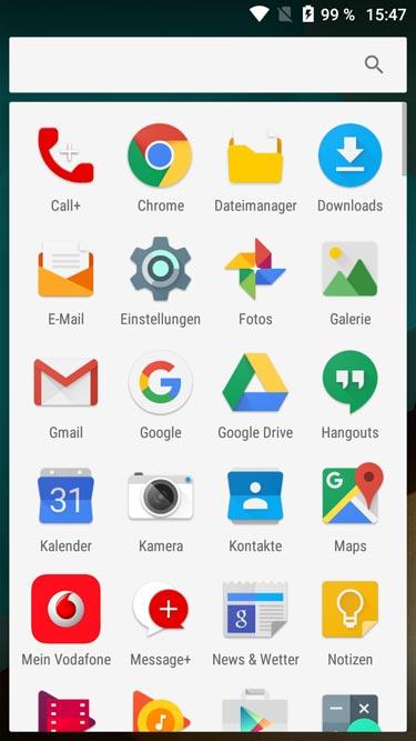 Vodafone Smart Prime 7 Menüansicht